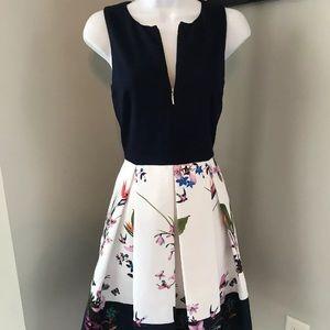 TED BAKER London Petali Flare Floral Print Dress